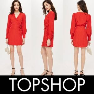 Topshop Red Woven Jacquard Long Sleeve Wrap Dress